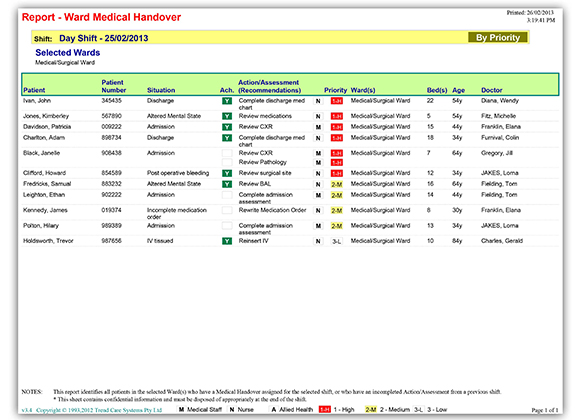 Report - Ward Medical Handover screenshot